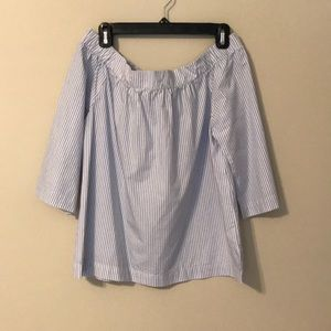 NWT Madewell Strapless Blue and White Stripe Top